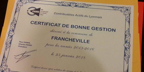 Francheville primée par la CANOL - Mairie de Francheville