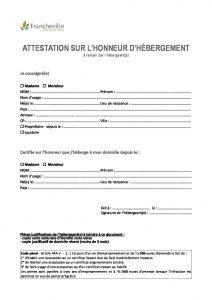 Attestation Sur L Honneur D Hebergement Mairie De Francheville